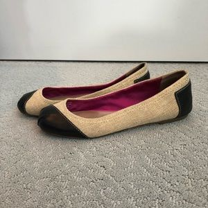 TOMS leather and jute ballet flats
